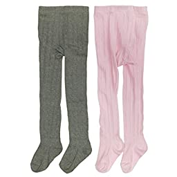 Wrapables Pink and Gray Thick Winter Cotton Ribbed Tights for Girls (Set of 2), 6-8 Years