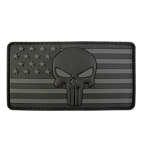 ALL BLACK Punisher American Flag Morale Tactical PVC Rubber Touch Fastener Patch