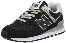 New Balance Women's Iconic 574 Core Sneaker, Black, 8.5 B US