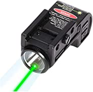 Tactical Pistol Green Laser with LED Flashlight,2-in-1, Mini Sights Accessories for Handgun/Rifle/Hunting Weap