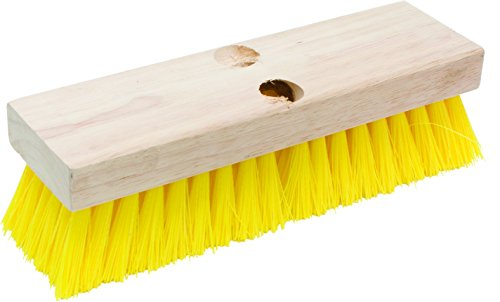 Marshalltown 2985 Deck Scrub Brush 10-Inch Yellow Polypropylene Bristles, Wood Block