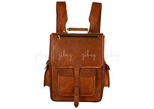 Vintage Leather Roll Laptop Backpack Messenger Bag Travel Bag School Bag