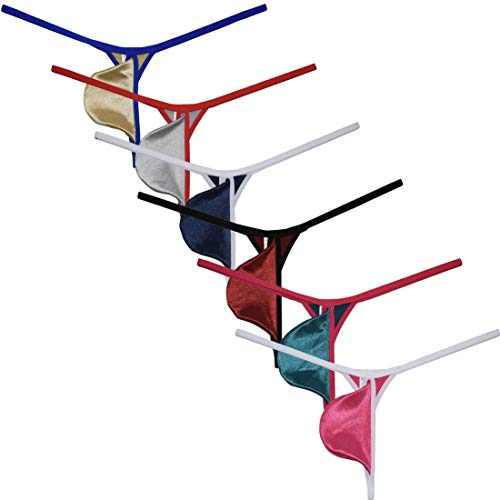OROCOJUCO 6-Pack Men Shiny String Thong Pouch T-Back Satin Micro Bikini Border Underwear Jockstrap L