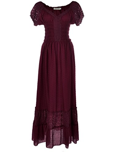 Anna-Kaci Peasant Maiden Boho Inspired Cap Sleeve Lace Trim Maxi Dress, Burgundy, Small