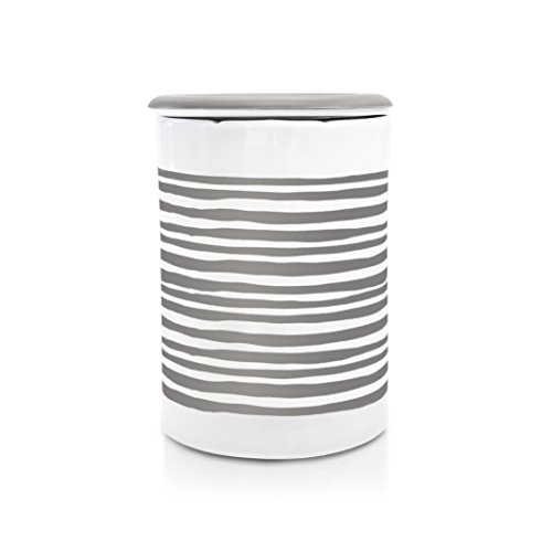 Happy Wax - Classic Wax Melt Warmer in Gray Stripe - Perfect Electric and Decorative Ceramic Wax Melter or Warmer for Scented Wax Melts, Cubes & Tarts! (Melts not Included)
