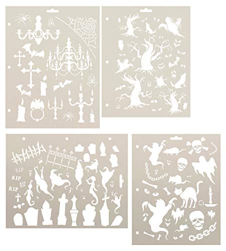 (All Hallows' Eve Halloween Storybook Stencil Set 4 - Piece by StudioR12 | Reusable Mylar Template | Use for Journaling - Walls - Tables Creating Stories for Children - Signs)