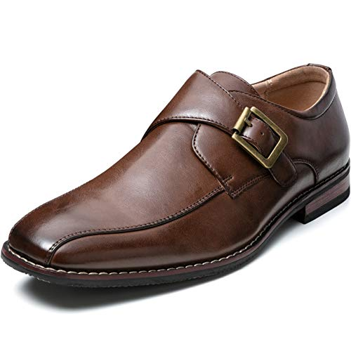 ZRIANG Men's Dress Loafers Formal Leather Lined Slip-on Shoes (10.5 M US, Brown-17)