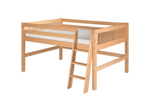 Camaflexi Mission Style Solid Wood Low Loft Bed, Full, Side Angled Ladder, Natural