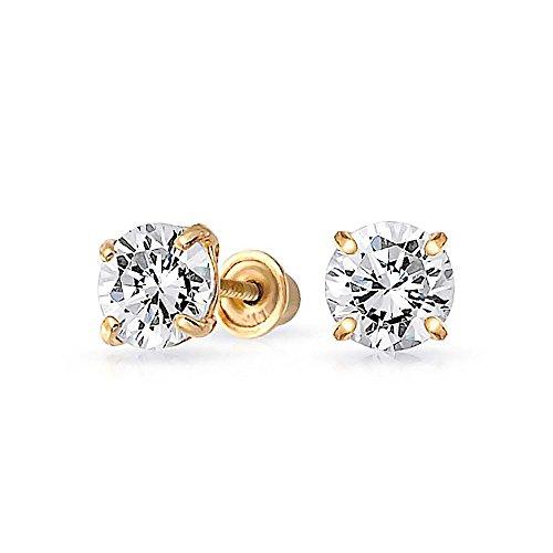 Bling Jewelry Kids CZ Square Saftey Screw Back Stud earrings 14k Gold 3mm - 14k Gold Pierced Earrings