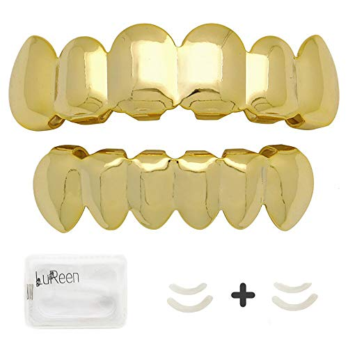 LuReen 14k Gold Plated Hip Hop 6 Teeth Grills Caps Top & Bottom Grills Set with 4 Silicon Molding Bars(2 Extra)