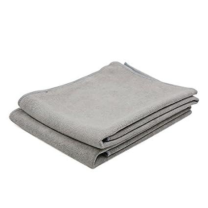 eDealMax 2pcs 60cm x 30cm Suave microfibra Inicio Alquiler de toallas de Tela gris Detalle de