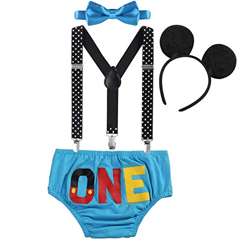 FYMNSI Baby Boys 1st Birthday Cake Smash Mickey Costume Photo Props 4PCS Outfits Suspender Bloomers Bowtie Headband Blue 6-12 Months]()