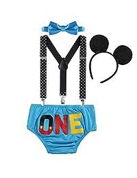 Baby Boy Cake Smash ONE Diaper Suspenders Bowtie Headband Birthday Party