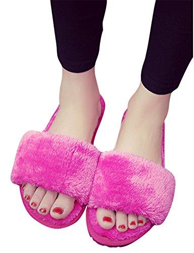 Lysbilder Tøffelen Kvinner Faux Pels, Pluss Størrelsen Innendørs Hjem Skoene Lette Flat Vinter Sko 8 Farger Størrelse 5 Til 8,5 Rose Rød