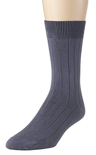 Modal Ribbed (Sportoli Men's Super Soft Lenzing Modal Ribbed Medium Weight Dress Crew Socks - Grey (13-15))