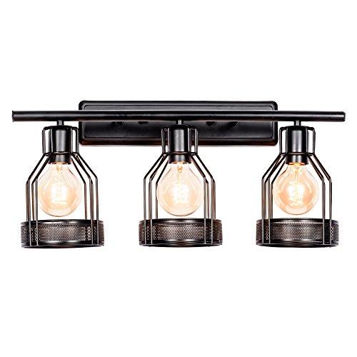 3 Vanity Light Industrial Lighting, Bathroom Indoor Cage Light Fixture, Metal Shade with Black Finish,Vintage Wall Sconces Home Retro Lights(Bulb Not ()
