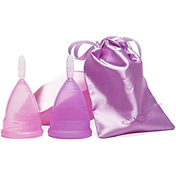Menstrual Cups ULG 2-pack Feminine Hygiene Cups with 2 Free Bags to Carry Small and Large (Pink and Purple) Alternative option for Cloth Sanitary Napkins