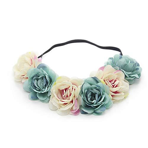 Miaoo - Diadema con guirnalda de rosas para bodas, fiestas, festivales; accesorio para el pelo para ninas, novia y dama de h