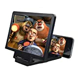 3D Mobile Phone Screen Magnifier, Cell Phone HD Magnifying Glass Mount Movies Video Amplifier with Foldable Holder Stand for for iPhone Samsung and All Other Smart Phones (Black)
