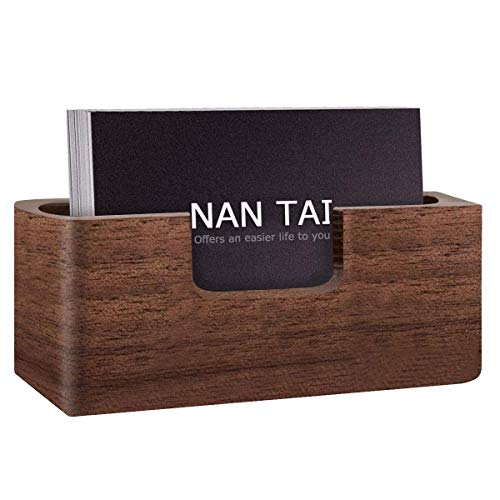 isplay Holder - Professional Brown Walnut Cards Case for Desk Desktop Single Compartment Wooden Name Card Stand for Tables Storage Organizer Index Card Filing ()