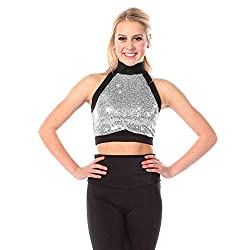 Silver Sequin Dance Costume Crop Top for Girls