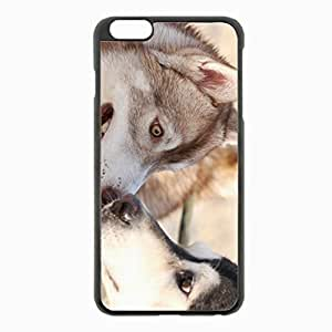 iPhone 6 Plus Black Hardshell Case 5.5inch - husky dog couple surprise face Desin Images Protector Back Cover