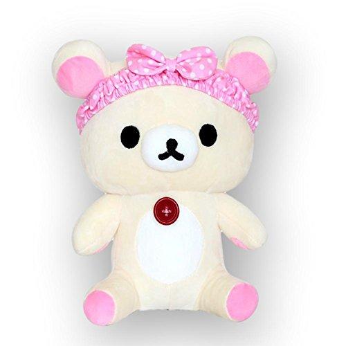 (Korilakkuma Japanese Teddy Bear in Pink Headband Plush)