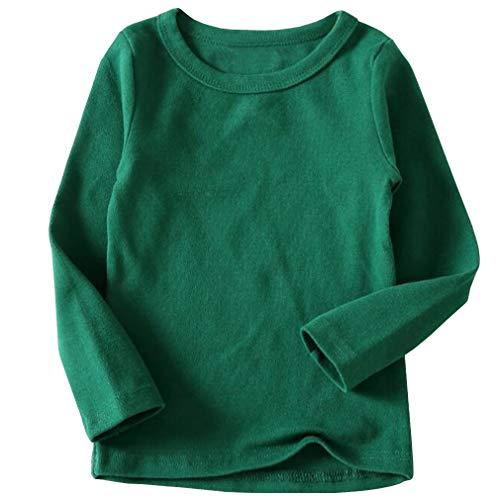 Toddler Girls Green (Niyage Toddler Comfort Crew Neck Soft Tee Tops Girl Basic Long Sleeve T-Shirt Dark Green 110)