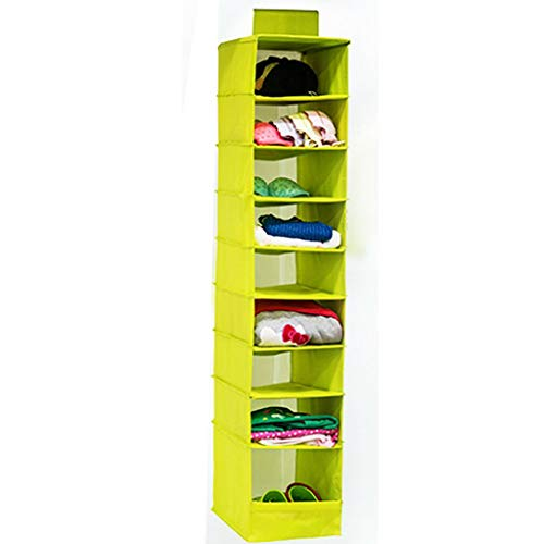 (MOPOLIS 9-Shelf Closet Hanging Storage Clothes Wardrobe Organiser Divider Space Saving (Color - Green))