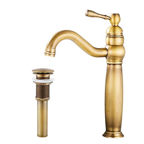 GGStudy 360° Swivel Single Handle One Hole Tall Body Bathroom Vessel Sink Faucets Antique Brass