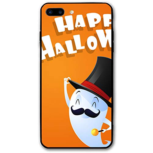 iPhone 8 Plus Case, iPhone 7 Plus Case, Flying Cute Ghost Spirit with Hat Happy Halloween Printed Hard PC Back Case with TPU Bumper Protective Case Cover