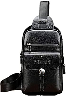 Men Quality Leather Sling Chest Bag Travel Backpack Crossbody Shoulder Day Pack