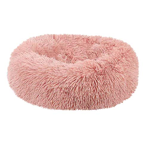 Dog Bed Cat Bed Cushion Bed Faux Fur Donut Cuddler Self-Warming Cat Dog Bed Cushion for Joint-Relief Improved Sleep (Pink, S)