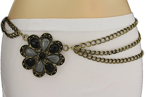 TFJ Women's Fashion Gold Metal Belt Hip Waist Chain Big Flower Charm S M L Blue / Black (Charm Chain Belt)