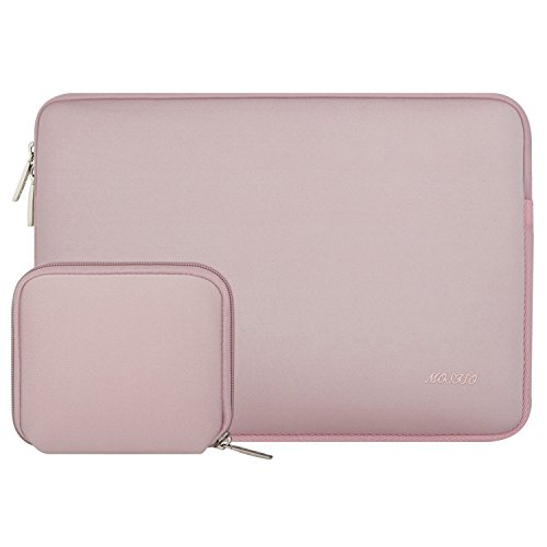 MOSISO Laptop Sleeve Bag Compatible 15-15.6 Inch MacBook Pro, Notebook Computer with Small Case, Water Repellent Lycra Carrying Cover, Baby Pink