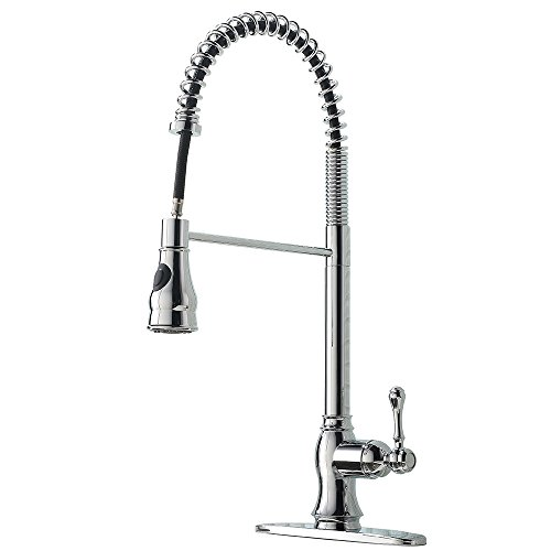 VAPSINT Modern High Arch Stainless Steel Spring Chrome Single Handle Pre Rinse Pull Down Sprayer Kitchen Sink Faucet, Pull Out Kitchen Faucet With Deck Plate ()