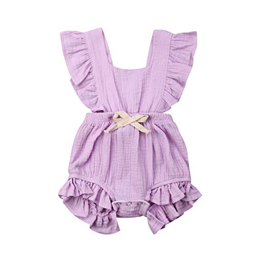 Infant Newborn Baby Girl Romper Bodysuit Ruffle Bowknot One-Piece Jumpsuit Outfit Clothes Summer 0-24M (Purple, 0-6 Months) (Baby One Piece Bodysuit)