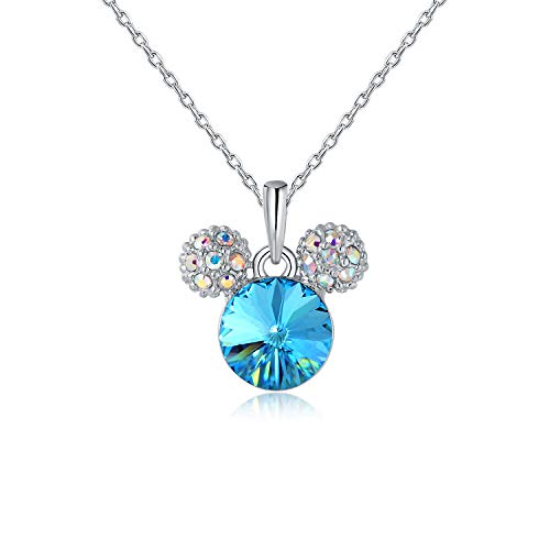 HERAYLI Mickey Mouse Pendant Necklace for Girls/Women,Made with Swarovski Crystal Lovely Women Necklace Jewelry Gift (Blue)