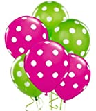 Polka Dot Balloons 11inch Premium Lime Green and Berry Hot Pink with All-Over Print White Dots Pkg/25