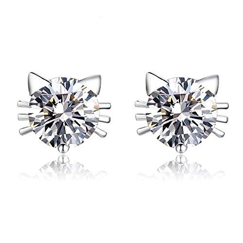 Julie's Jewelry 925 sterling silver cat earring Inlaid AAA zircon (White Gold) (White Gold Zircon Earrings)