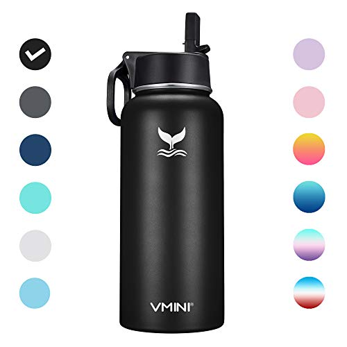 Vmini Water Bottle – Wide Mouth Stainless Steel & Vacuum Insulated Bottle, New Straw Lid with Wide Handle, Black & 32 oz