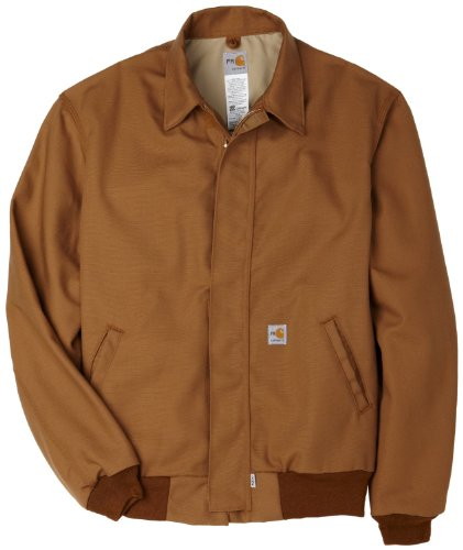 Canvas Bomber Jacket - Carhartt Men's Flame Resistant All Season Bomber Jacket,Brown,Large