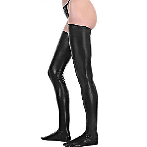 Kloud City Black Women Sexy Shiny Stretch Metallic PU Leather Thigh High Stockings Fashion Ladies Footless Wet Look Stockings