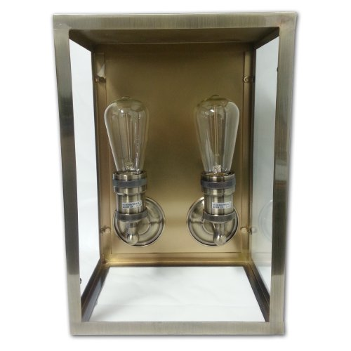 (String Light Company LBOWLL2 Antique Double Wall Lamp with Brass Finish)