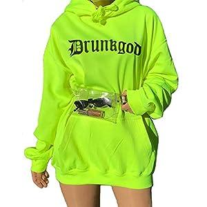 Women Loose Print Sweatshirt Knitted Hooded Shinning Streetwear Long Hoodies