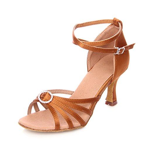 Heels Wymname Moderne Bande Sociale Brun High chaussures De Chaussures Womens Sandale Latine Danse fvqfO0