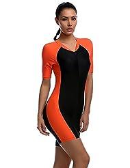 YEESAM® Surfing Suit Women Men Short Sleeve One Piece Modest Swimwear Sun Protection (Orange A, Int'l - S)