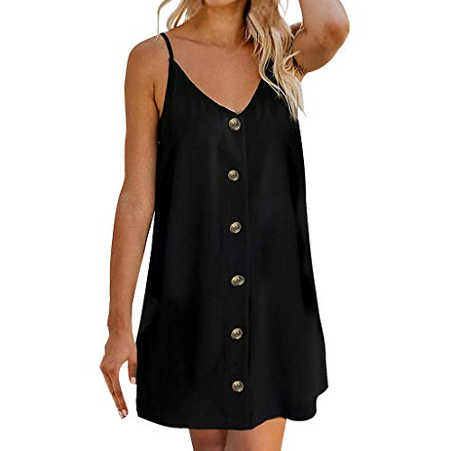 Women's Casual Sundress - Popular Button Front Sleeveless Summer Solid Color Adjustable Spaghetti Strap Swing Mini Dress