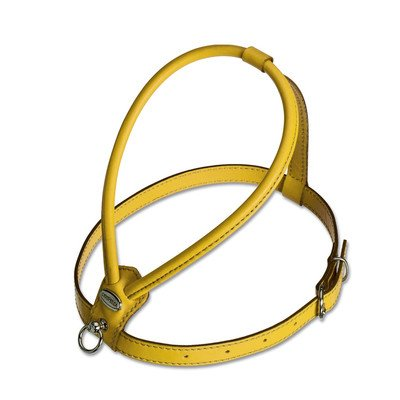 Fashion Soft Leather Dog Harness Size: Medium, Color: Yellow