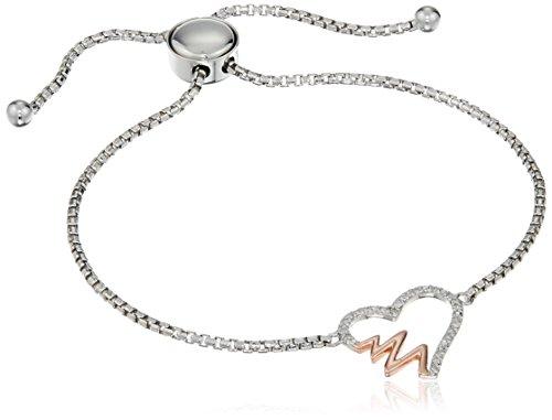 Sterling Silver Two Tone Diamond Open He - Sterling Diamond Two Tone Bracelets Shopping Results